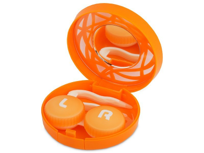 Pudełko na soczewki z lusterkiem - pomarańczowy oranament