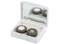 alensa.pl - Soczewki kontaktowe - Pudełko na soczewki z lusterkiem Elegant - srebrne