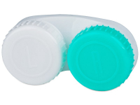 alensa.pl - Soczewki kontaktowe - Biało-zielony pojemnik na soczewki z oznaczenimi L/R