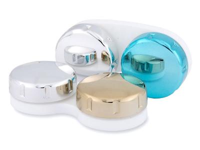 Pojemnik na soczewki kontaktowe z lustrzanym wykończeniem – niebieskie/srebrne